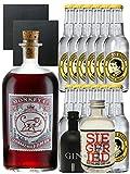 Gin-Set Monkey 47 SLOE GIN Schwarzwald Dry Gin 0,5 Liter + Black Gin Gansloser Deutschland 5cl + Siegfried Dry Gin Deutschland 4cl + 12 x Thomas Henry Tonic Water 0,2 Liter + 2 Schieferuntersetzer quadratisch 9,5 cm