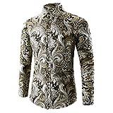 MEIbax Freizeithemd -Mens Hawaii-Shirt 3D-Druck T-Shirt Sport Langarm T-Shirts Bluse Top - Freizeit Hemd Longsleeve Slim Fit 3D Reise Hawaiihemd für Männer(Gold,3XL)
