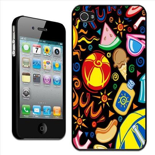Fancy A Snuggle Rückschale für Apple iPhone 4 / 4S (Hartschale, zum Aufstecken, Motiv Spaß in der Sonne - Strand, Sonnenbrille, Ball, Eis)