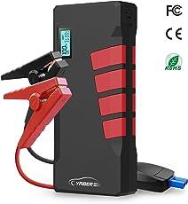 Starthilfe Powerbank, YABER Auto Starthilfe 1000A Spitzenstrom 20800mAh 12V Autobatterie Anlasser mit LED Taschenlampe, LCD Display, Externes Akku Ladegerät mit QC 3.0 Ausgang, Typ C Anschluss für Laptop, Smartphone