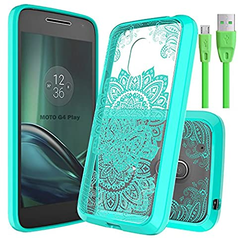 Slook Moto G4 Play Case Come with USB Cable Slim Invisible Mandala Hybrid Drop Protection for Motorola Moto G4 Play (Mint)