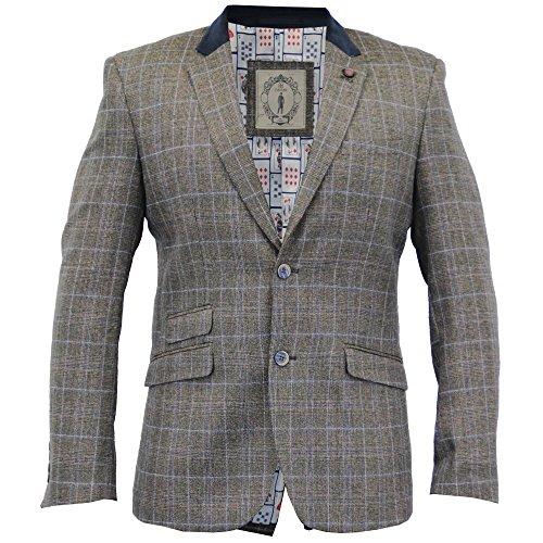 uomo misto lana tweed a spina di pesce quadri slim giacca blazer da Cavani Marrone - sintan