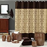 Uphome Luxury Brown Gold Shiny Damask Ba...
