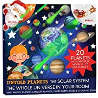220 Pcs Glow in The Dark Planets and Stars, Bright Solar System Wall Stickers, All Glowing 20 Planets Dwarf Exoplanets Pluto Moon Sun 186 Stars, 12 Shooting Stars, Bonus Glowing Santa on The Moon