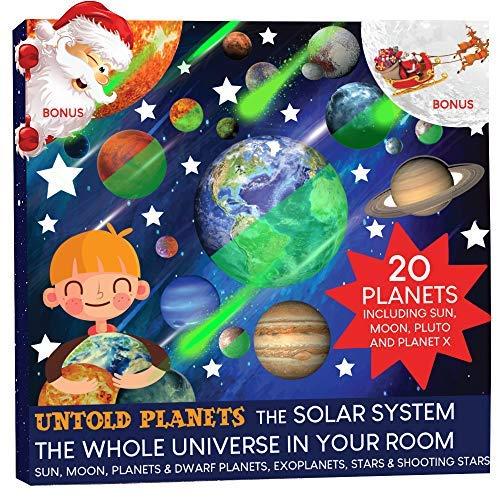 Stelle e Pianeti Fluorescenti, Adesivi murali per bambini, sistema solare - tutti I 20 pianeti luminosi per la camera da letto, Pluto Luna Sole 186 stelle, 12 stelle cadenti + BONUS