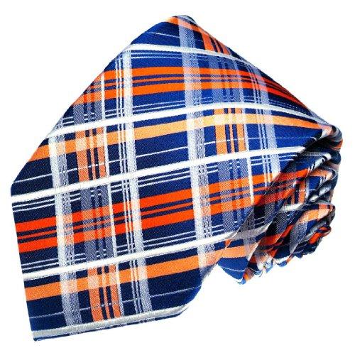 LORENZO CANA - karierte blau weiß orange Krawatte aus 100% Seide - Seidenkrawatte Schlips Binder mit Karos - 77151