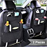 PRO365 2 Fabric Car Back Seat Organizer/Tissue Box/Cold Drinks/Multi Pockets (2 Pieces, Black)