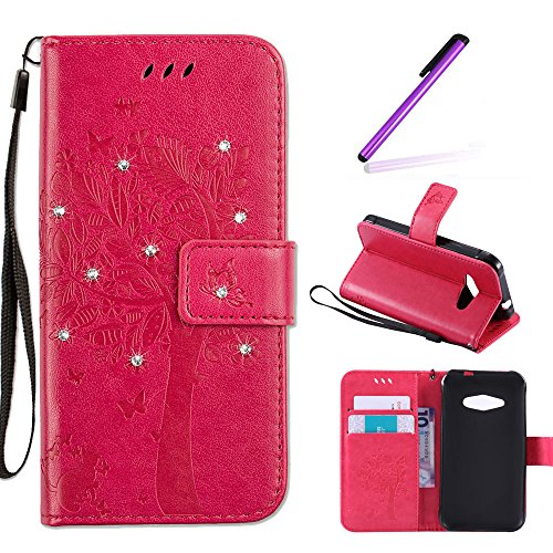 EMAXELERS Samsung Galaxy J1 Ace Hülle Glitzer Bling Wishing Tree Schmetterling PU Leder Flip Magnetisch Book Wallet Brieftasche Hülle für J1 Ace SM-J1 Ace 4.3-Inch,Rose Wishing Tree with Diamond