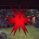 Außenstern / Outdoorstern, ca. 60 cm Adventsstern aussen / Weihnachtsstern / Leuchtstern, inkl. Elektrik (rot)