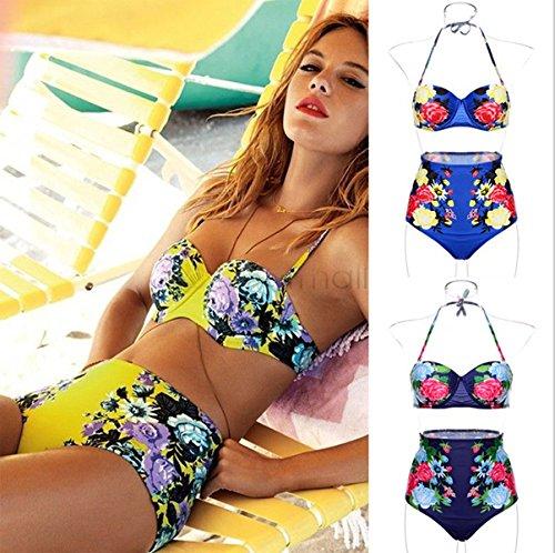 HHBO Frauen printingHalter Bikini, Color Block Nylon / Polyester Blue