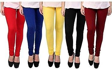 Rudraksha Leggings Women's Cotton Lycra Leggings (Multicolour, Free Size)-Pack Of 5