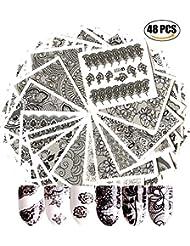 AIUIN 48 Stück Nail Art Sticker Aufkleber Schwarz Spitze Blume Design DIY Nail Art Sticker Aufkleber Nail Tips Dekorationen