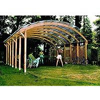 """Jardín Verde - Cochera doble """"Conwy"""" con techo de policloruro de vinilo ondulado (pcv). Dimensiones: h3,2 x 6 x 6m"""