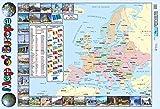 Poster Carte de l'europe pour Les écoles, Les collèges - avec Drapeaux européens et informations de courantes européennes - 60 cm x 40 cm...