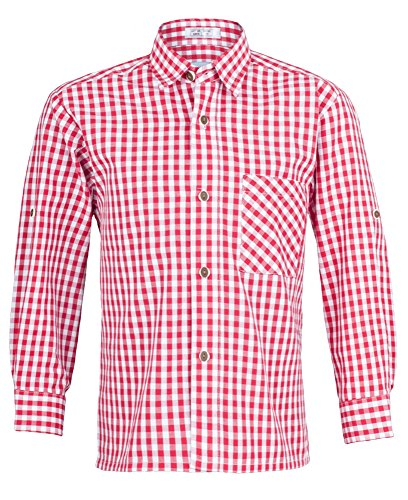Kinder Trachtenhemd Rot Weiß kariert Gr. 140 - Schönes Trachten Hemd für Kinder in verschiedenen Farben verfügbar - Perfekt zur Lederhose für Buben