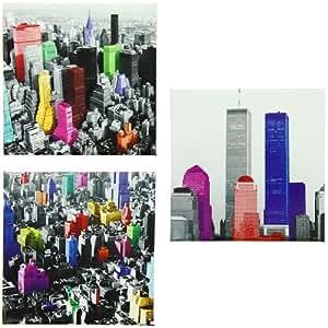 New York - Lot 3 Stickers Magnet Frigo Deco New York Building Pop Art