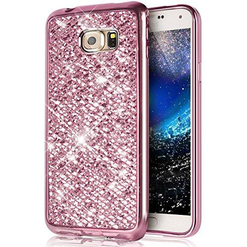 Cover Samsung Galaxy S7,Custodia Samsung Galaxy S7,KunyFond Crystal Clear Protettiva Case Custodia 360 Gradi di Protezione Completa Morbida Gel Custodia Silicone Tpu Copertura Trasparente Macchia Desi rosa gliter