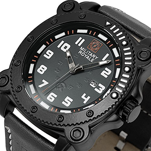 MILITARY ROYALE Herrenarmbanduhr Herrenuhr Analoguhr Quarzwerk Militär Armbanduhr Sportuhr Schwarz (Orange)