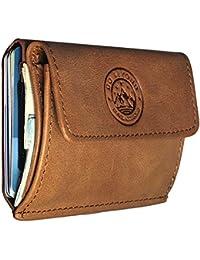 7f43d355db5a08 GoBeyond Mini-Geldbeutel Männer und Frauen | mit MÜNZFACH - Echt-Leder -  RFID