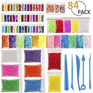 ANPHSIN 84 Packung Schlamm Kits Supplies, Slime Making Kit, Slime Supplies Kit Enthalten Floam Perlen Fishbowl Perlen Glitter Gläser Obst Scheiben Regen für Making Art DIY Craft