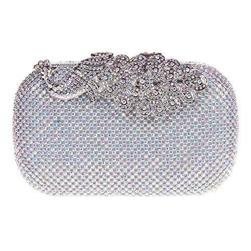 Bonjanvye Shining Peacock Clutch Purse Crystal Rhinestones Evening Bags AB Gold AB Silver