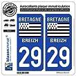2 Autocollants plaque imatriculation Auto 29 Bretgane - LogoType