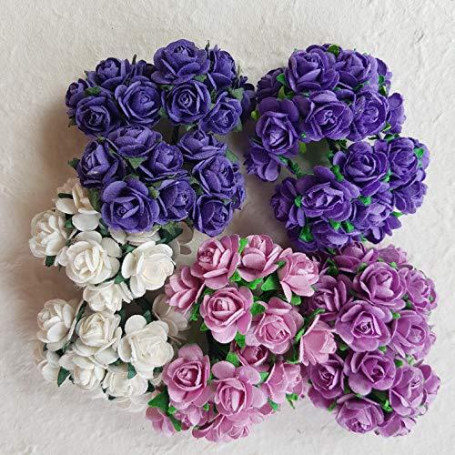 dowdegdee 100PCS Handgefertigtes Maulbeer-Papier Rose Blume 1,5cm Craft Scrapbooking Scrapbook Schleife Hochzeit Puppe Haus Supplies, Karte 5Farben gemischt Lila Ton