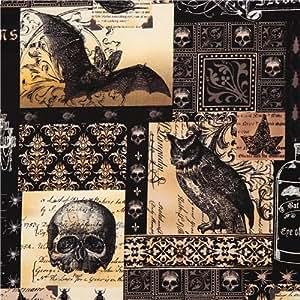 Tissu enduit laminé noir Michael Miller hiboux,chauve-souris