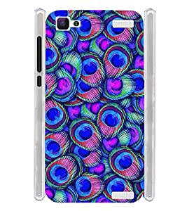 Blue Peacock Fethers Soft Silicon Rubberized Back Case Cover for Vivo V1 Max