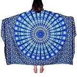 Vbiger Elegante Pareo Rectangular Esterilla de Yoga Toalla de Playa Esterilla Con Impression Digital Para Mujer (Azul)