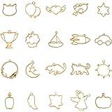 PandaHall 40 pz 20 Stile Assortito Lega d'oro Aperto Indietro Bezel Charms Blanks Cornice Pendente per DIY Resina Creazione d