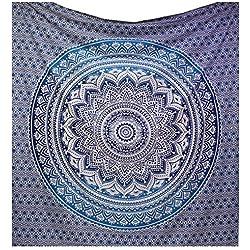 Raajsee, mandala azzurro sfumato, arredamento bohéme, psichedelico (220x 240cm)