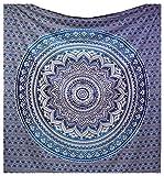 Couvre-lit indien Hippie Gypsy Style Bohème, Décoration de chambre 100% coton imprimé à la main, Tapisserie murale ou drap de Plage Mandala (220X230 CMS QUEEN)