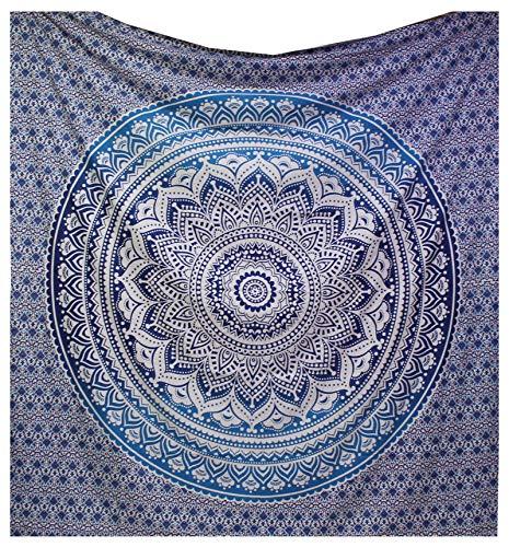 raajsee Indisch Wandteppich Mandala Ombre Tapestry Hippie Psychedelic Wandbehang,Elefant Boho Indischer Baumwolle Wand tucher Orientalisch, (Blaue Ombre, 210 x 220 cms Queen)