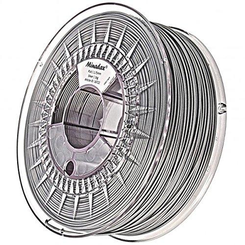 Minadax® 1kg Premium Qualitaet 1,75mm PLA-Filament silber fuer 3D-Drucker hergestellt in Europa