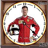 SGH Services Sebastian Vettel Ferrari Formel 1MDF Wanduhr groß 30cm/11.81in/MDF kann personalisiert werden