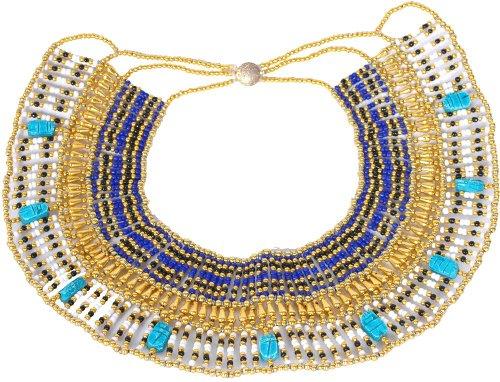 Handgefertigt Perlen Königin Kleopatra Ägypten goldfarben Halskette Bauchtanz ()