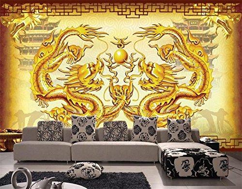 Whian 3D Papel Pintado Mural Sala De Estar Dormitorio Decoracion Dos Dragones Juegan Con Pintura De Perlas. La Imagen Etiqueta De La Pared 200Cmx140Cm|78.74(In) X55.11(In)