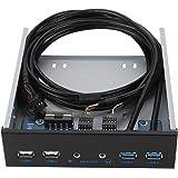 ASHATA Pannello Frontale USB 3.0,Multifunzione Pannello Frontale 5,25 Pollici Hub USB3.0 + USB2.0, hub USB Super Speed 4.8 Gb
