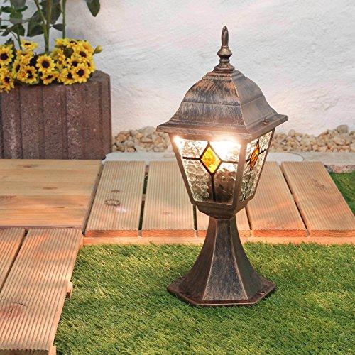 """Sockelleuchte Außen""""Salzburg"""" in rustikal antik Weglampe/IP44 E27 bis 60W 230V/Sockellampe Wege-Lampe Weg-Leuchte Außenleuchte Pfeiler"""