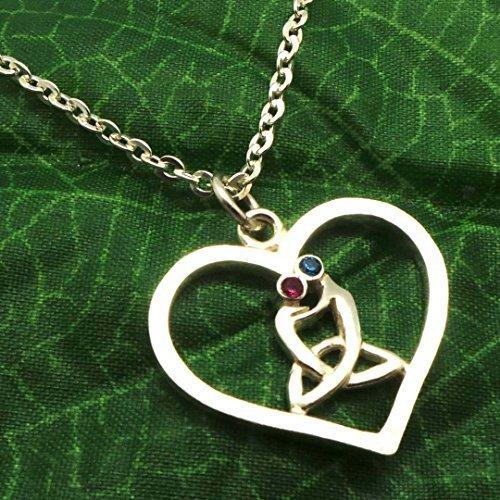 Collana Cuore Fatto a Mano Argento Sterling, Madre celtica e collana del pendente nodo figlio