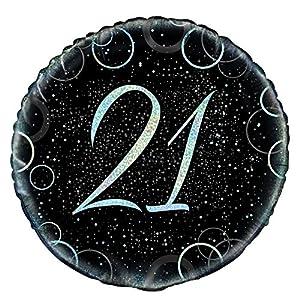 Unique Party- Globo foil de 21 cumpleaños, Color plateado metálico brillante, 45 cm (55820)