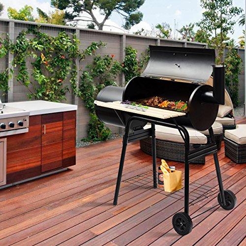 Costway Outdoor BBQ Grill Charcoal Barbecue Steel Pit Meat Cooker Smoker Camping Patio Backyard Garden Party