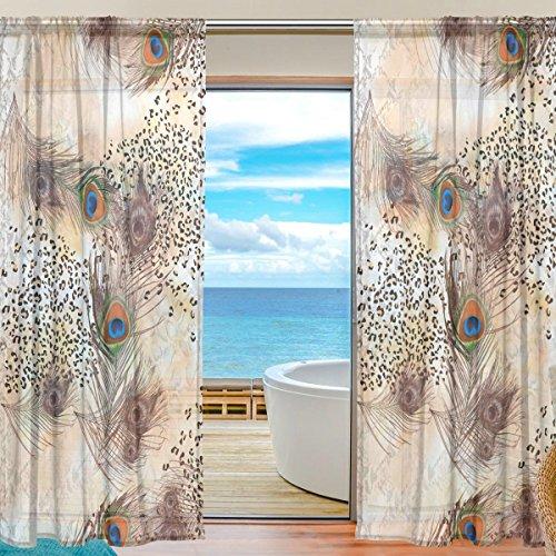 yibaihe Fenster Sheer Vorhänge Panels Voile Drapes Schöne Einrichtung Animal Print mit Federn 140 W x 198cm L 2Platten ideal für Wohnzimmer Schlafzimmer Girl 's Room