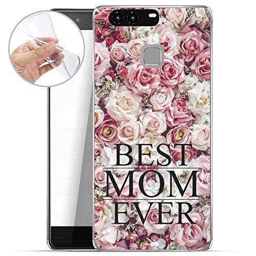 Finoo TPU Handyhülle für dein Huawei P9 Plus Made In Germany Hülle mit Motiv und Optimalen Schutz Silikon Tasche Case Cover Schutzhülle für Dein Huawei P9 Plus - Best mom ever