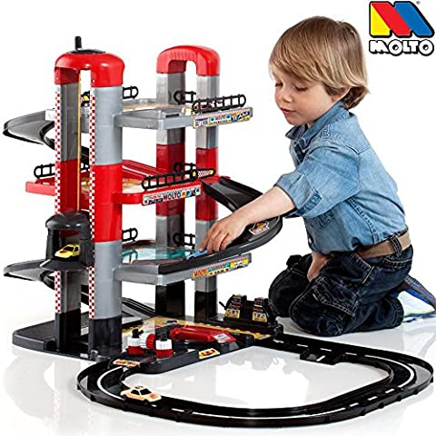 Parkgarage mit Spielstraße auf 4 Ebenen mit Aufzug, 2 Autos: Auto Spielzeug Garage Spielstrasse Spielzeugauto 4 Etagen Parkhaus
