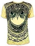 Sure Clothing T-Shirt Homme - Ganja Hibou Taille M L XL Feuille de Cannabis Totem Indiens Goa Chanvre (Jaune M)