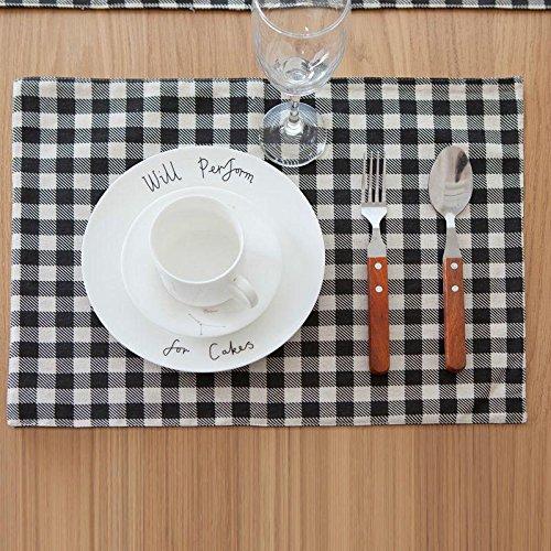 YUANLINGWEI Rechteck Gitter Muster Tischsets Baumwolle Leinen Stoff Jacquard Gewebe Chequer Tabelle Mat Tischset Dekoration Matten 4 Pcs (45 × 32 cm). (Jacquard-gewebe Baumwolle)