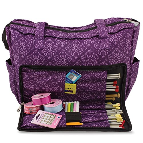 Knitting Shoulder Bag, Sewing Accessories and Craft Needle Storage Organiser Case In Imperial Purple by Roo Beauty