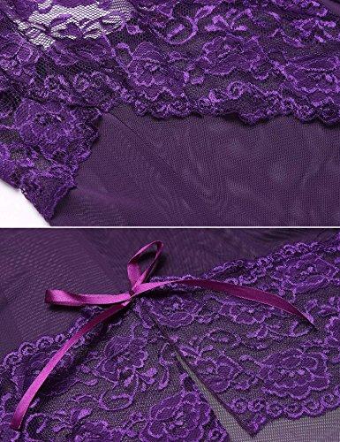 Avidlove Damen Lingerie Babydoll Negligee Spitze Dessous Set Nachtkleid Reizwäsche mit G-String Nachtwäsche Violett